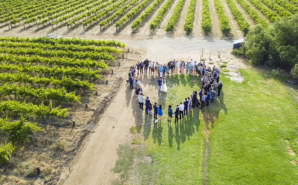 Drone group shot at Ekhidna WInes