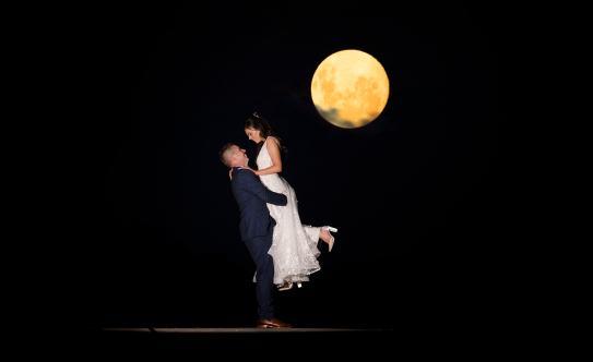 Full Moon at Lot 100 wedding
