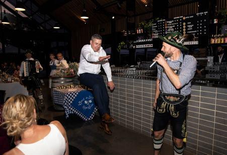 Groom doing some German dancing