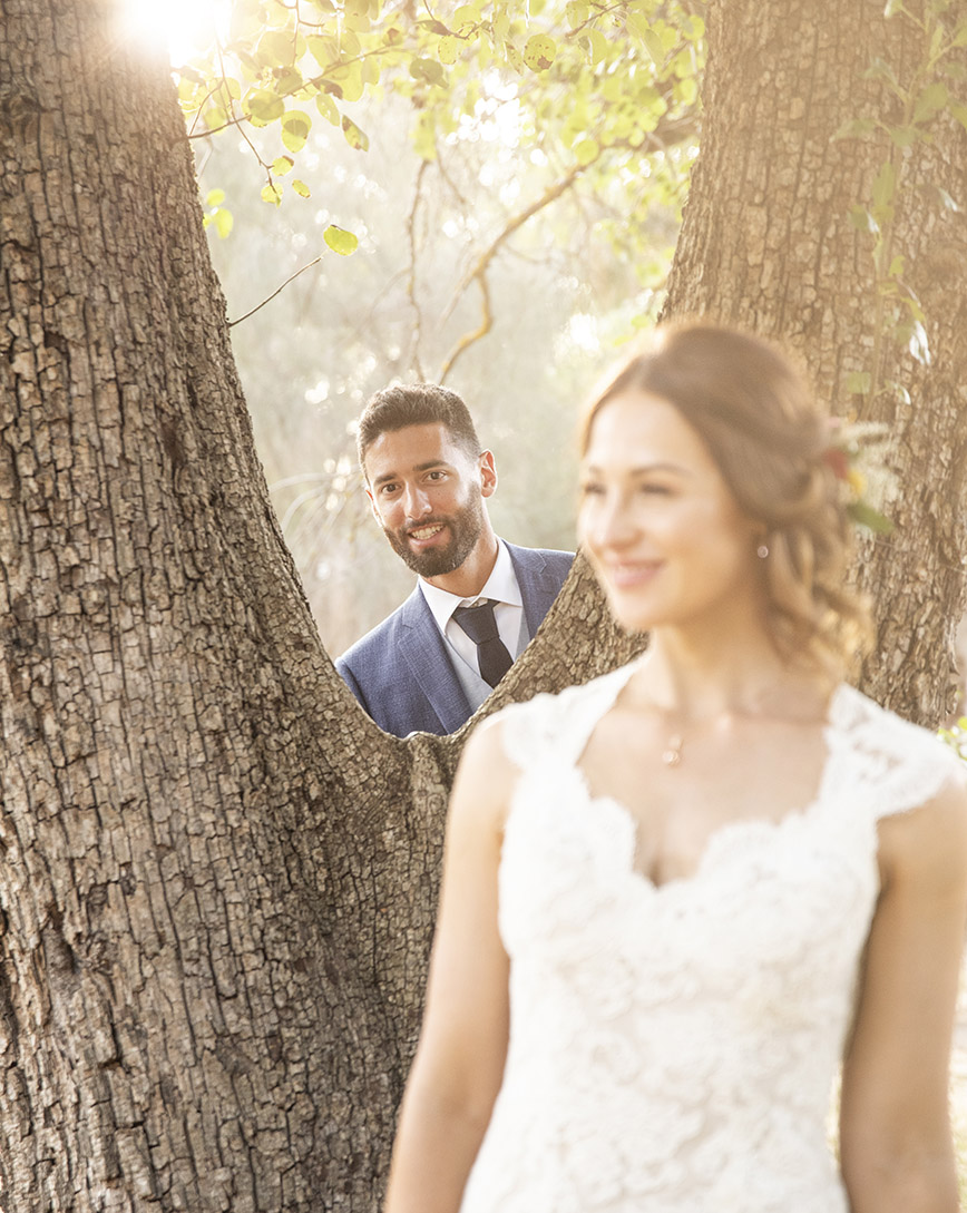 Looking through the tree at his bride