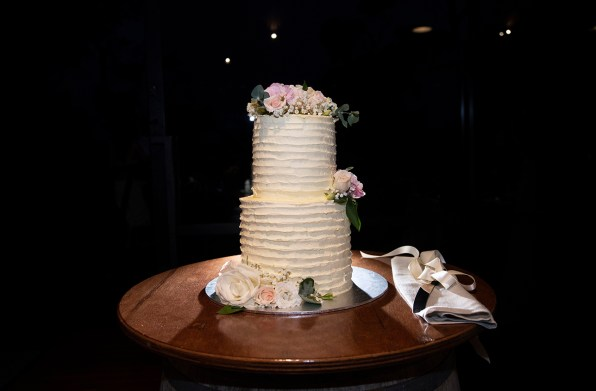 Wedding Cake on top of barrel