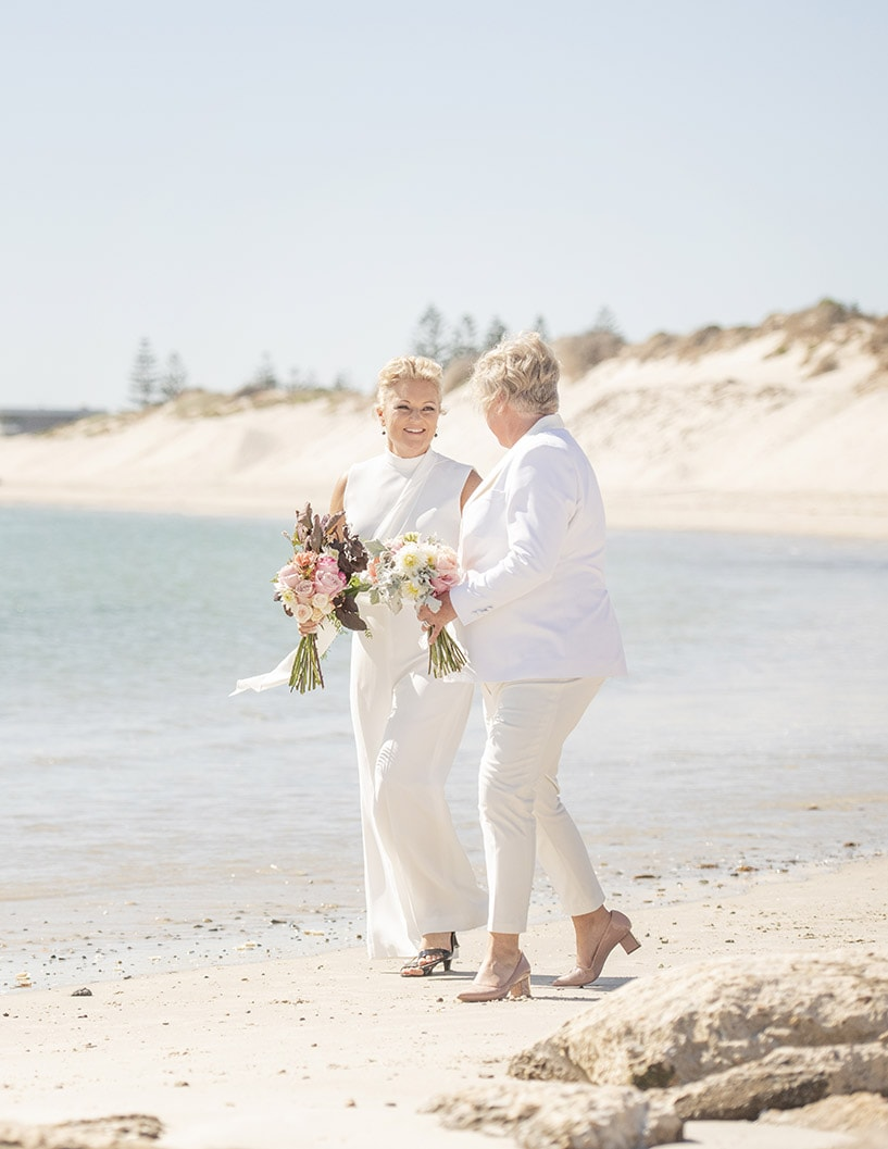Casual beach wedding photo