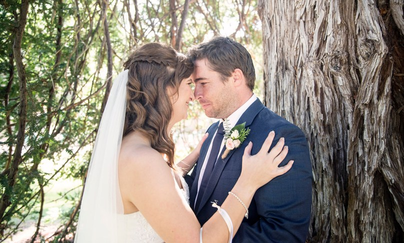 Bride and groom in an embrace
