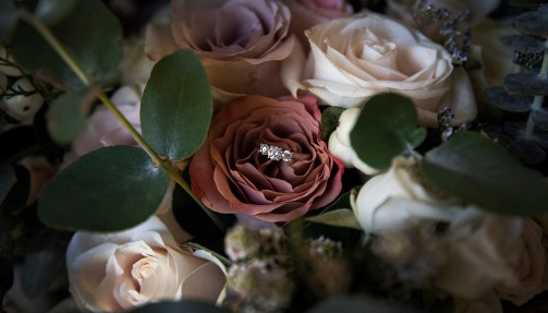 engagement ring in bouquet
