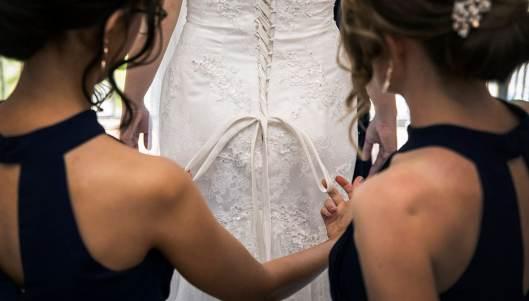Rear of wedding dress