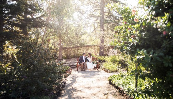 Wedding photo in the Old Government House garden
