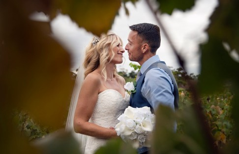 bride and groom through the vines