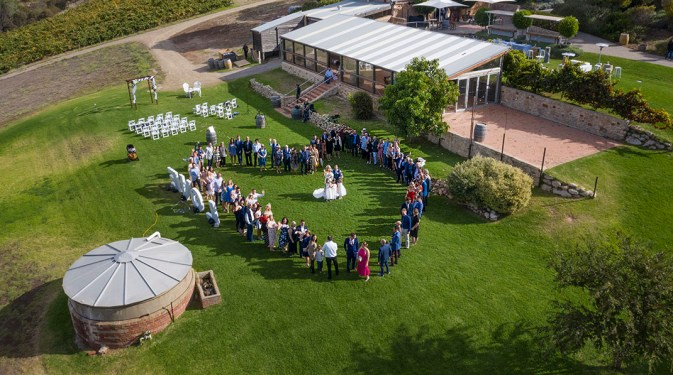Paxton winery wedding from the air
