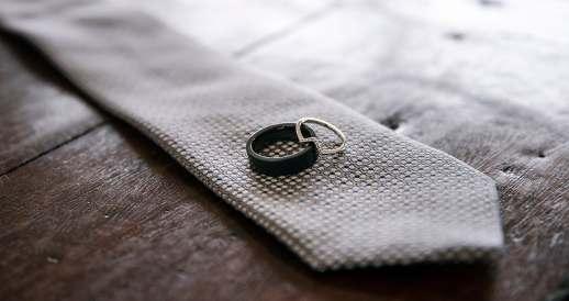 Wedding rings on tie
