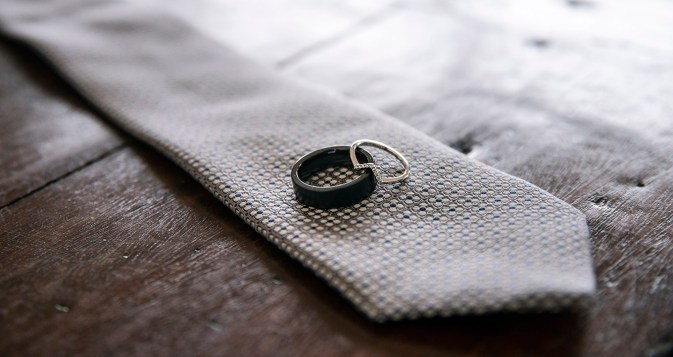 Wedding rings on tie