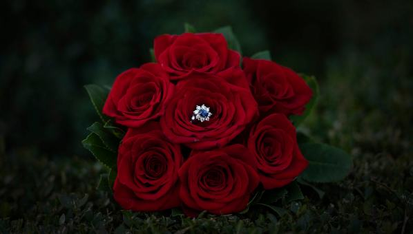Engagement ring in red bouquet
