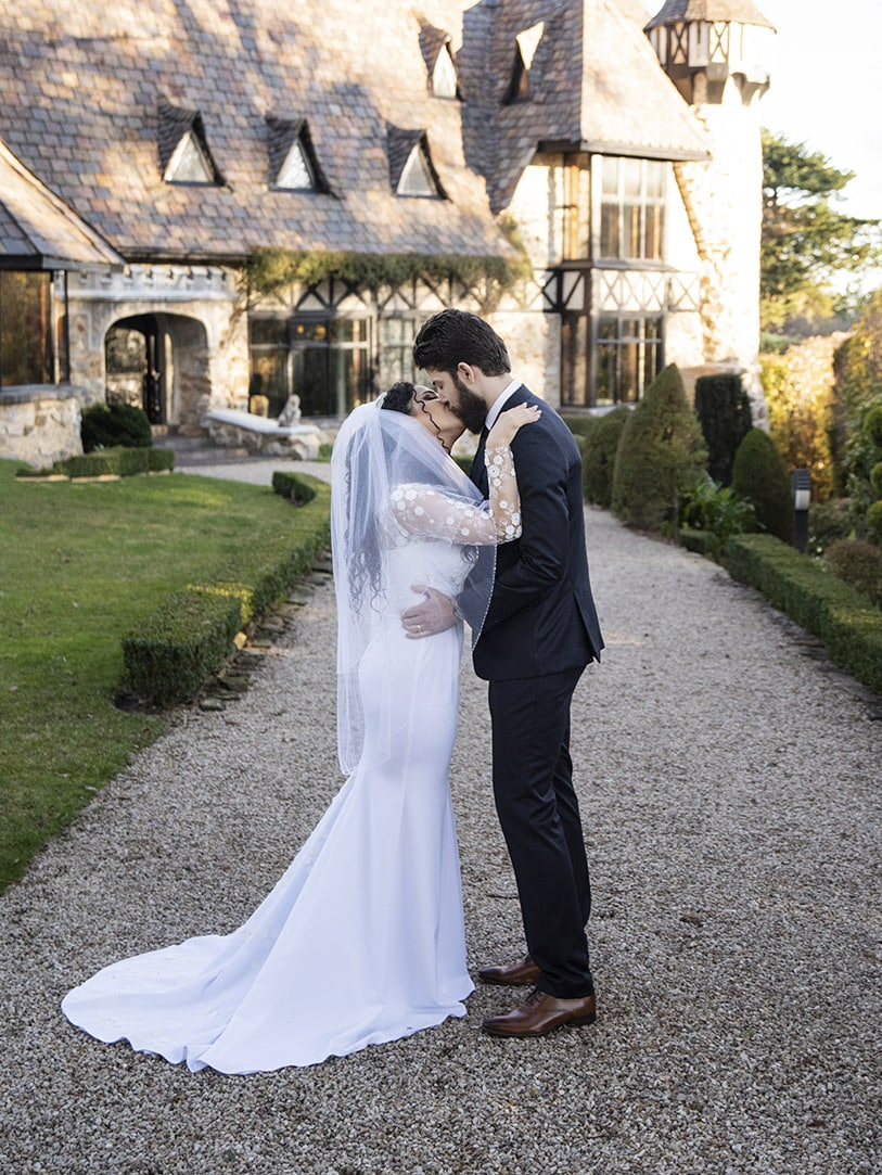 First kiss at Thorngrove Manor wedding ceremony