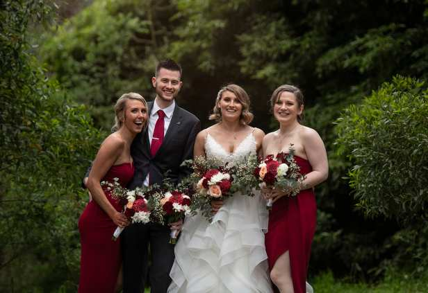 Bride and bridal party together