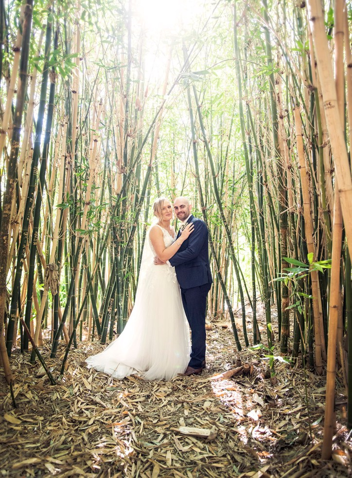 bride and groom in the bamboo at the Adelaide botanic gardens