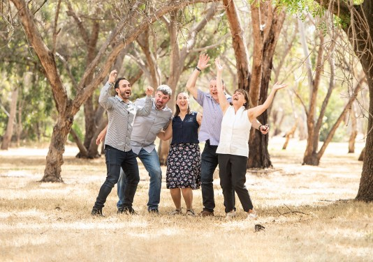 Family portrait under gum trees