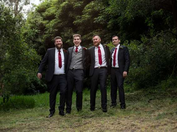 Groom and groomsmen together