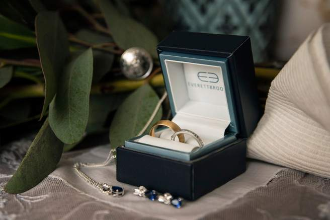 Wedding bands in box