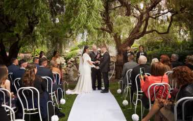 Veale Gardens wedding ceremony under trees