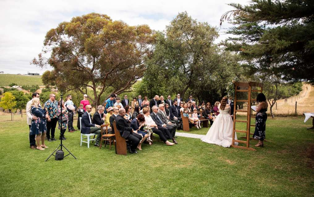 Ivybrook farm wedding ceremony under tree
