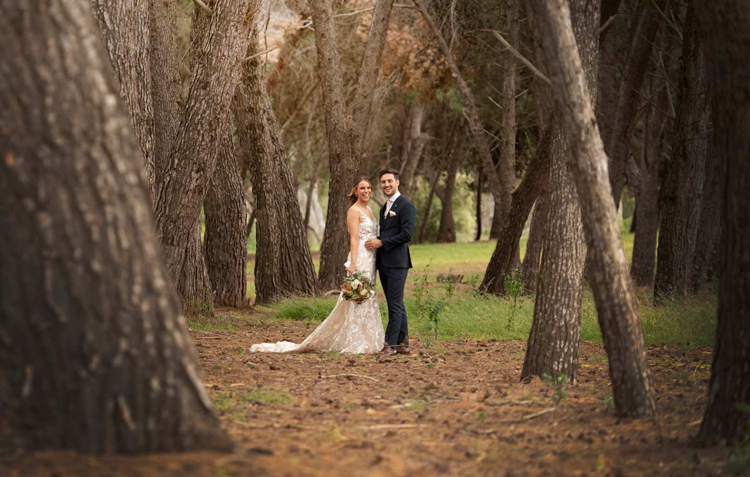 Seppeltsfield winery wedding photography in trees