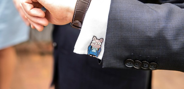 Simpsons pig wedding cufflinks