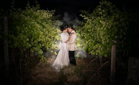 bride and groom in vineyard at night