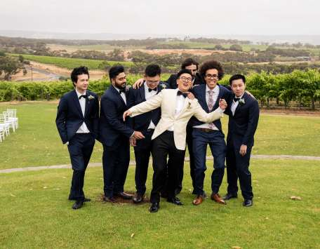 Groom and his boys having fun
