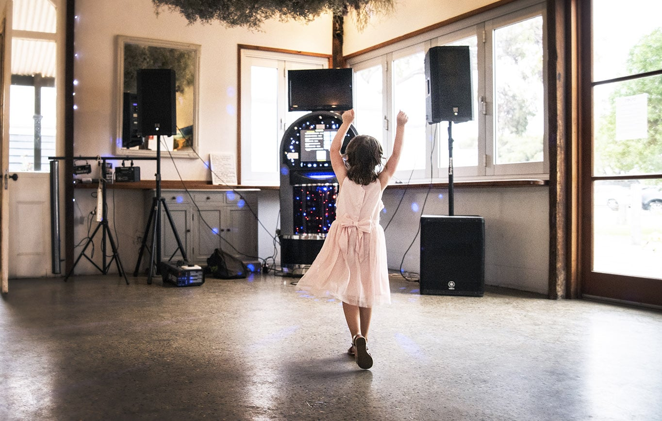 Little girl dancing to the music