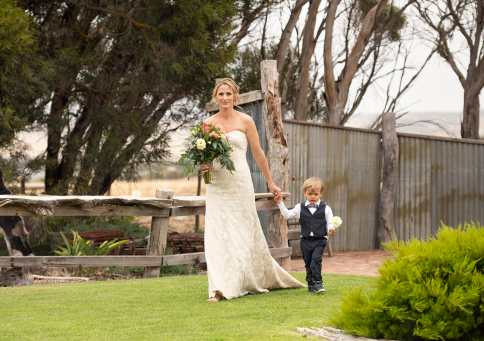 bridal approach at Crabtree Farm wedding