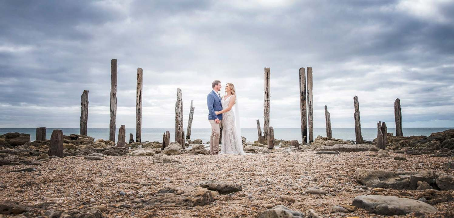 Bridal couple in front of pt willunga jetty