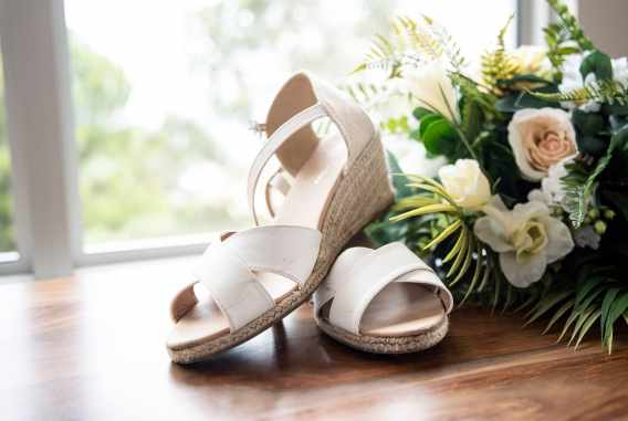 Bridal shoes on display