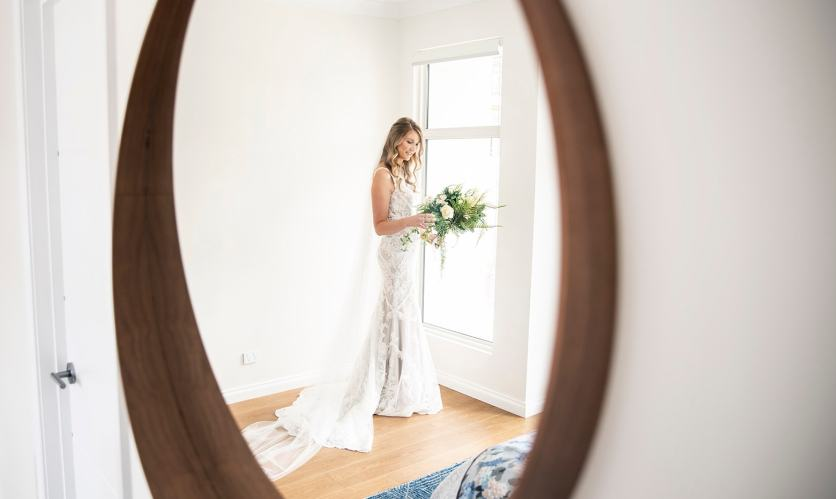 Bride reflection in mirror