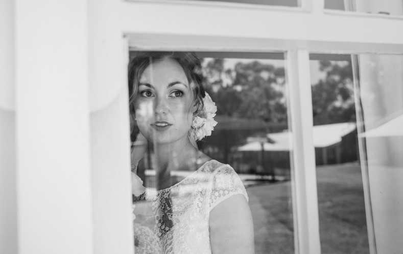 Bride through the window