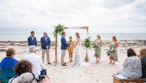 Brighton and Seacliff Yacht Club wedding ceremony