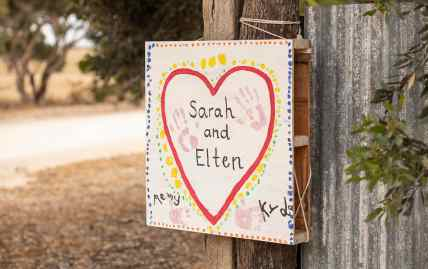 Homemade wedding sign