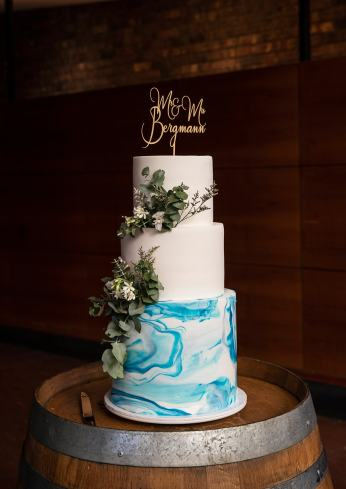 Wedding cake on barrel