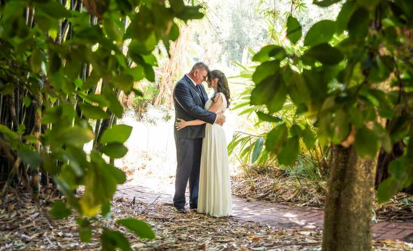 Bride and groom amongst the foliage in the Adelaide Botanic Gardens
