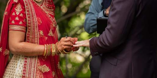 Exchanging wedding rings during the ceremony