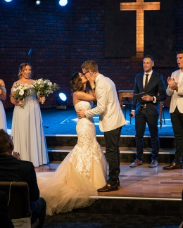 First kiss at Morphett Vale Church wedding