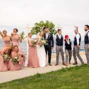 Bridal party group shot infront of Hobart Harbour