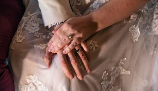 Closeup of hands with wedding bands
