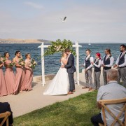First kiss at Seagrass Long Point Wedding Ceremony