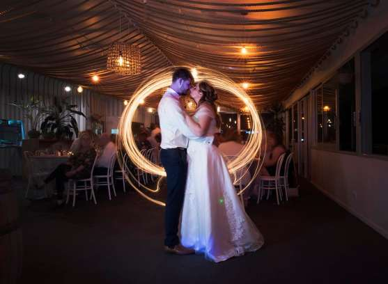 Light painted wedding photo