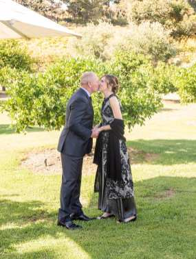 First kiss at Currant Shed wedding