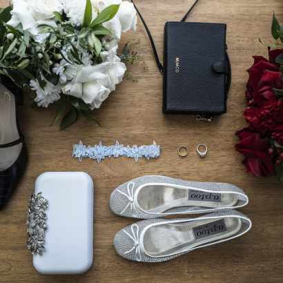 Bridal affects laid out on tabletop