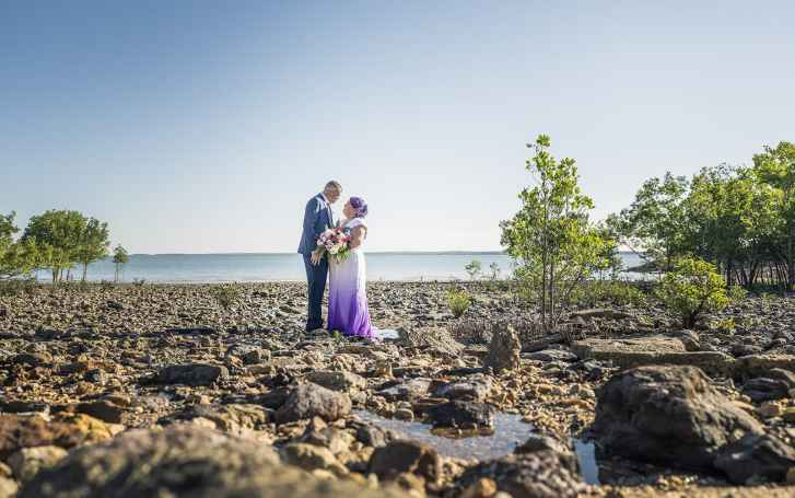 Bride and groom on the Darwin foreshore
