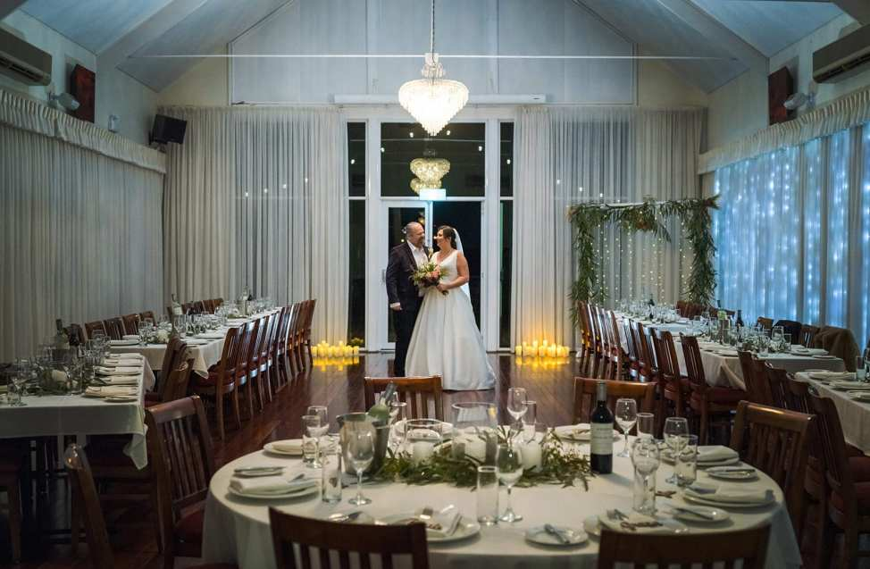 Bride and groom together in the Watershed Reception Area