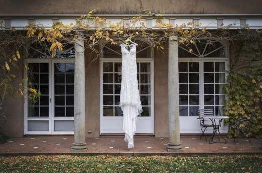 Wedding dress hanging at Alru Farm