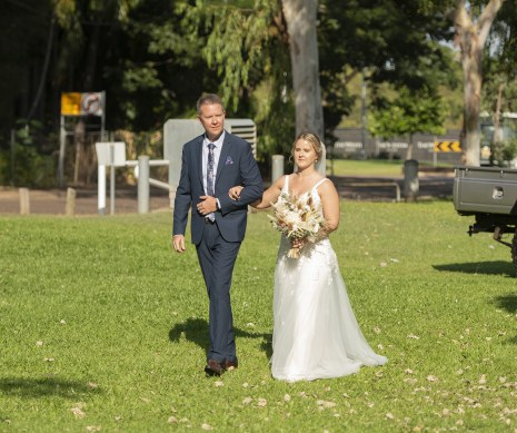 bride arriving with Father