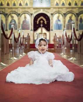 Baby Iliana on church floor